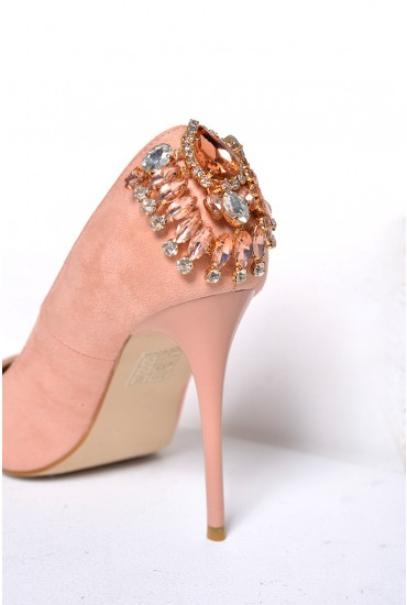Stormi Jewelled Suede Court Heels in Peach