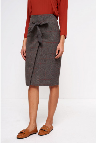 Karin Check Pencil Skirt in Brown