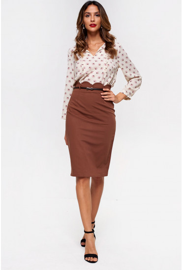Faith Belted Pencil Skirt in Coffee