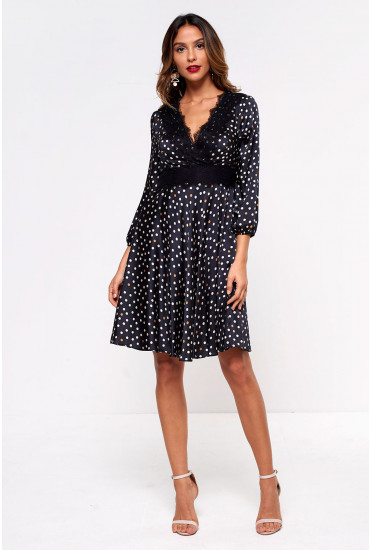 Frankie Polka Dot and Lace Dress in Black