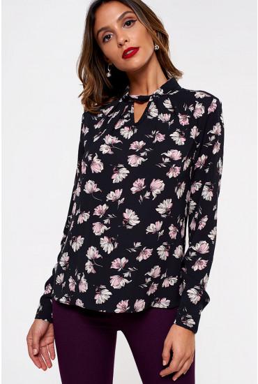 Callie Twist Neck Floral Blouse in Black