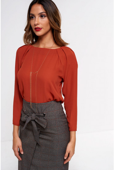 Carolyn Necklace Blouse in Rust