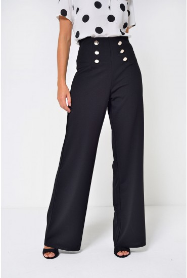 Brenda High Waist Sailor Pant in Black