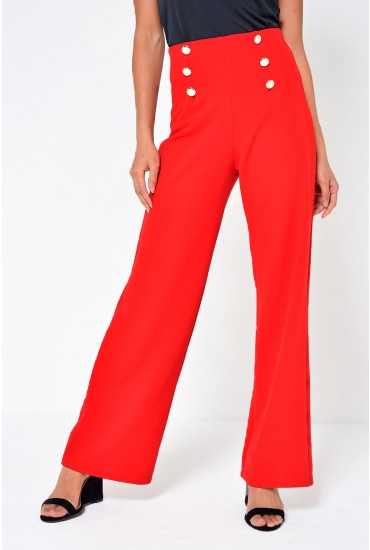 Brenda High Waist Sailor Pant in Red