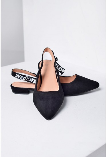 Heidi Slingback Flat Shoes in Black Suede