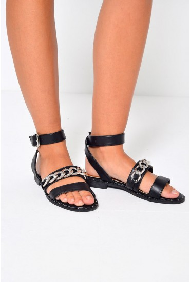 Quinn Strappy Sandal in Black