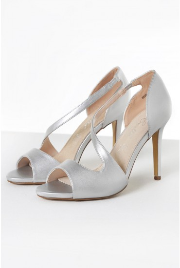 Paris Metallic Heeled Sandals in Silver