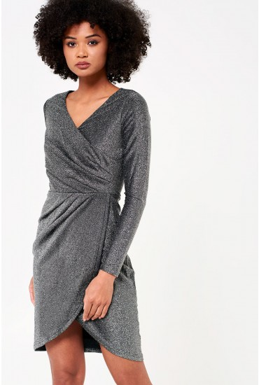 Kelli Wrap Dress in Silver Glitter