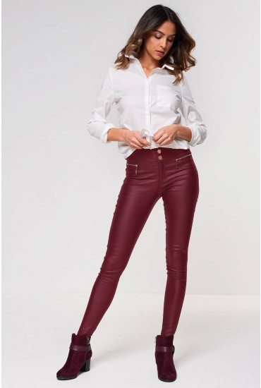 Margo High Waist Coated Trousers in Wine