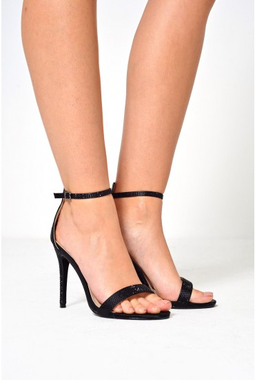 Nova Embellished Sandals in Black