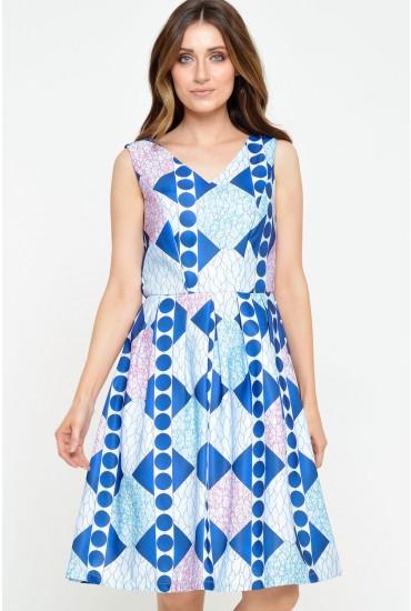 Rhona Graphic Print Skater Dress in Blue