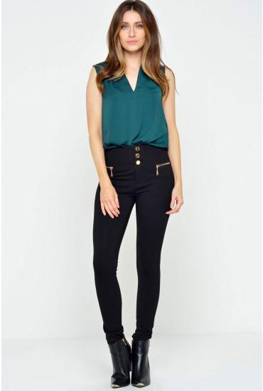 Lola High Waist Skinny Trousers in Black