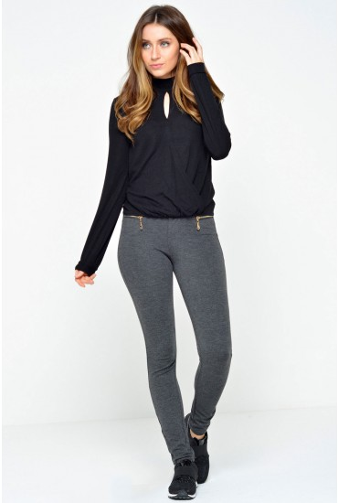 Lola High Waist Skinny Trousers in Dark Grey
