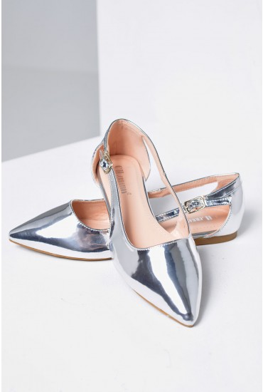 Denise Pointed Flat Shoes in Silver