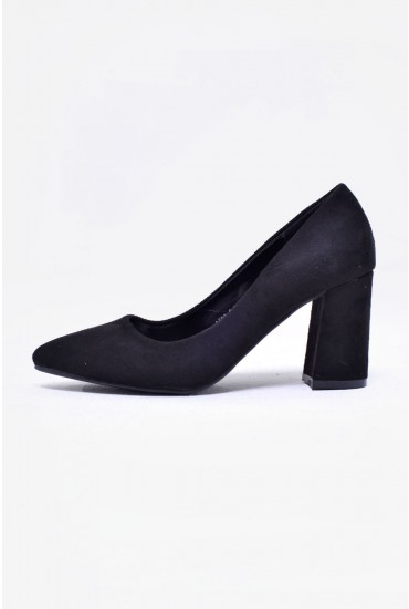 Kai Suede Pointed Court Shoe in Black