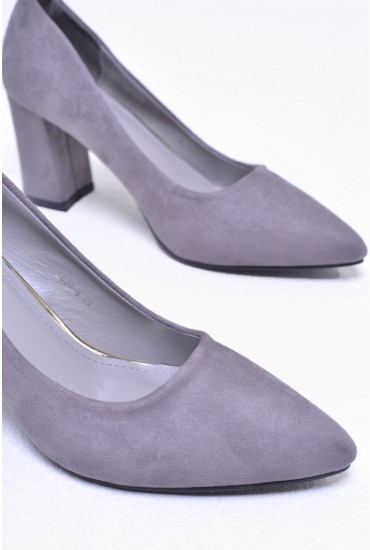 Kai Suede Pointed Court Shoe in Grey
