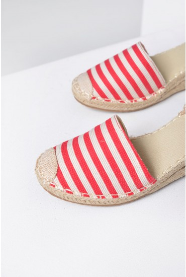 Mimi Striped Espadrille Wedges in Red