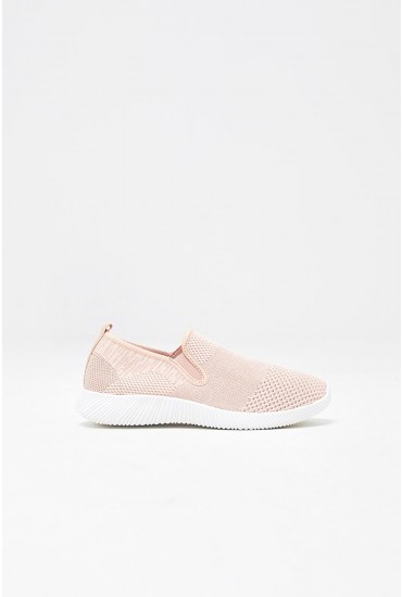 Lilly Stretch Fabric Trainers in Blush