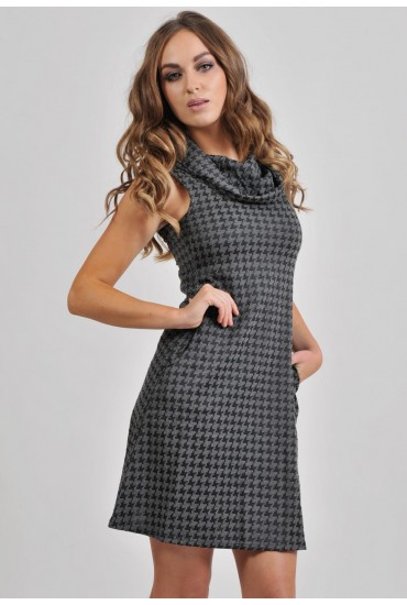 Edel Houndstooth Print Dress in Grey