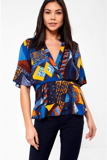 Louisa Abstract Print Blouse with Peplum Hem in Blue