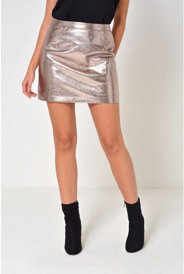 Lacey Metallic MIni Skirt in Silver