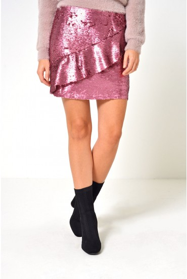 Claire Sequin Mini Skirt in Pink