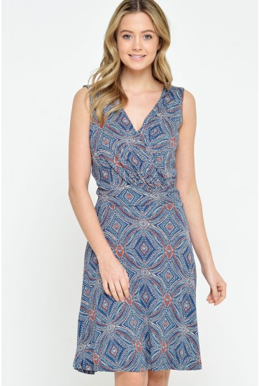 Africa Tribal Print Dress in Blue
