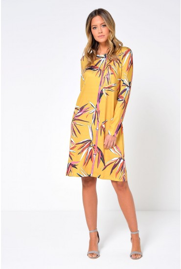 Oslo Printed Tunic Dress in Mustard
