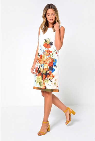 Rhodes Sleeveless Shift Dress in Floral Print