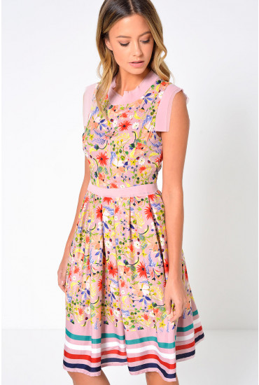 Milos Floral Print Skater Dress in Blush
