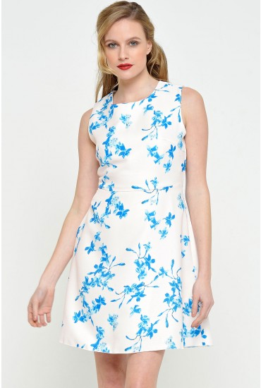 Sally Floral Dress in Blue Print