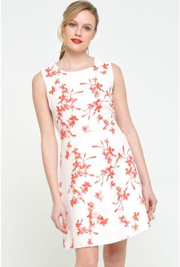 Sally Floral Dress in Red Print