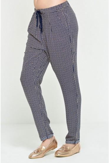 Renata Printed Trousers in Navy