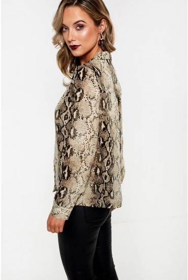 Amelia Long Sleeve Snakeskin Shirt
