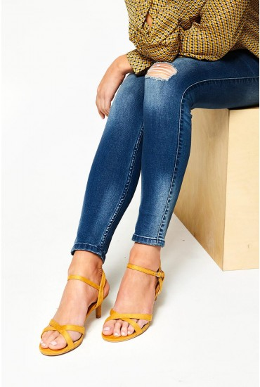 Ami Kitten Heel Sandals in Yellow Suede