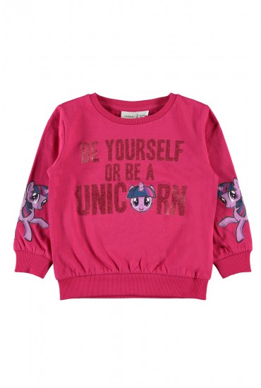 Amina Girls Glitter Sweat in Pink