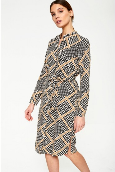 Andra Printed Shirt Dress in Black