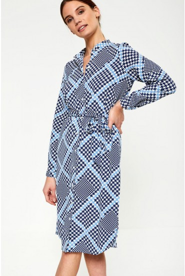 Andra Printed Shirt Dress in Blue