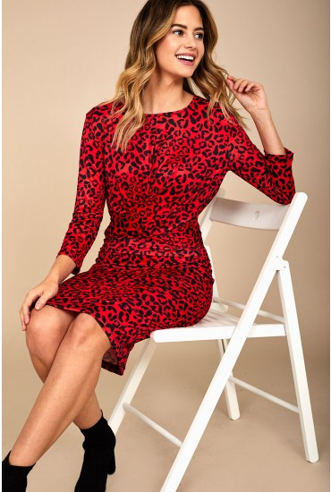 Nilga Animal Print Dress in Red
