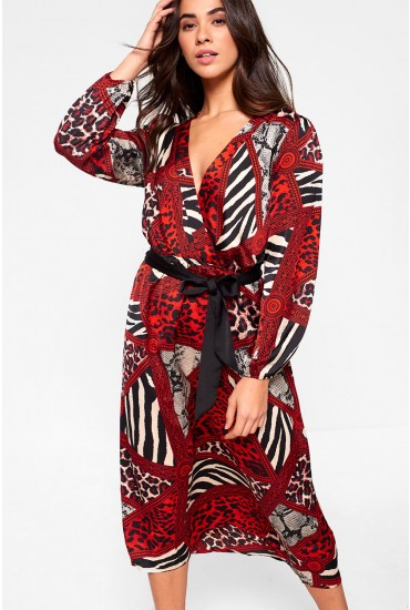 Ashley Animal Print Midi Dress in Red