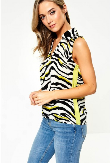 Michelle Animal Print Top in Yellow