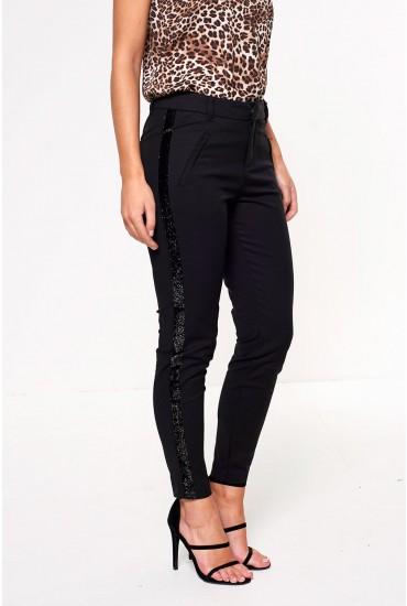 Victoria Regular Ankle Pants with Side Glitter Stripe in Black
