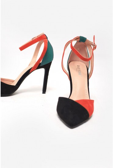 Macie Ankle Strap Court Heels in Colour Block