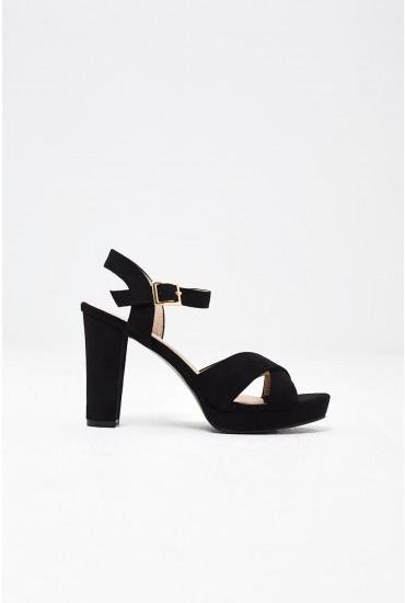 Anna Platform Heel Sandals in Black Suede