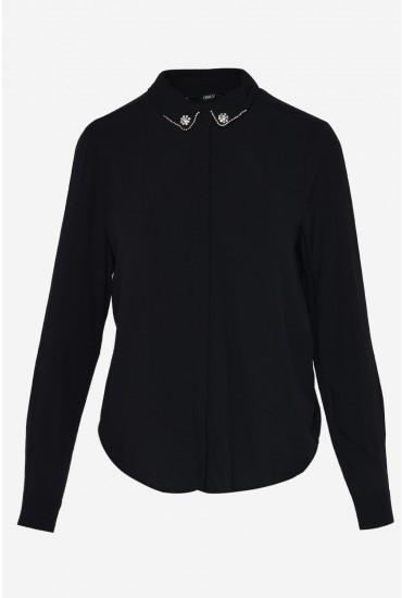 Annika Long Sleeve Shirt with Embellished Detail in Black