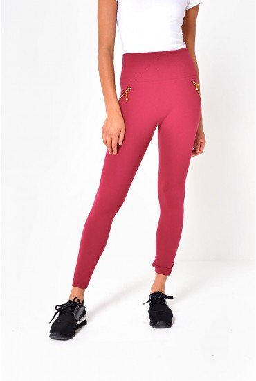 Lorri Zip Leggings in Wine
