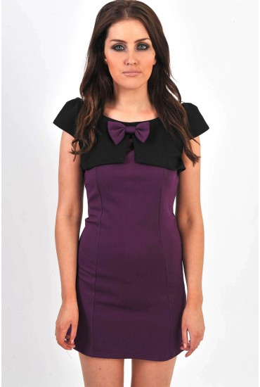 Vera Bow Contrast Dress in Purple