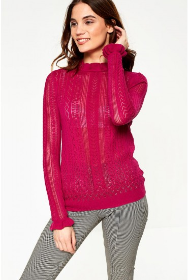 Astia Long Sleeve Ruffle Neck Jumper in Fuchsia