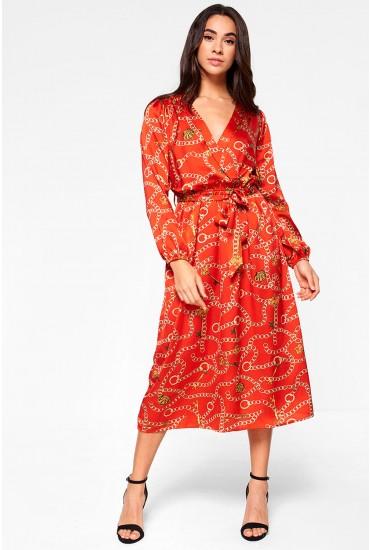 Aurora Midi Dress With Chain Print in Red