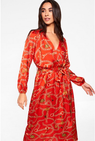 Aurora Midi Dress With Chain Print in Red